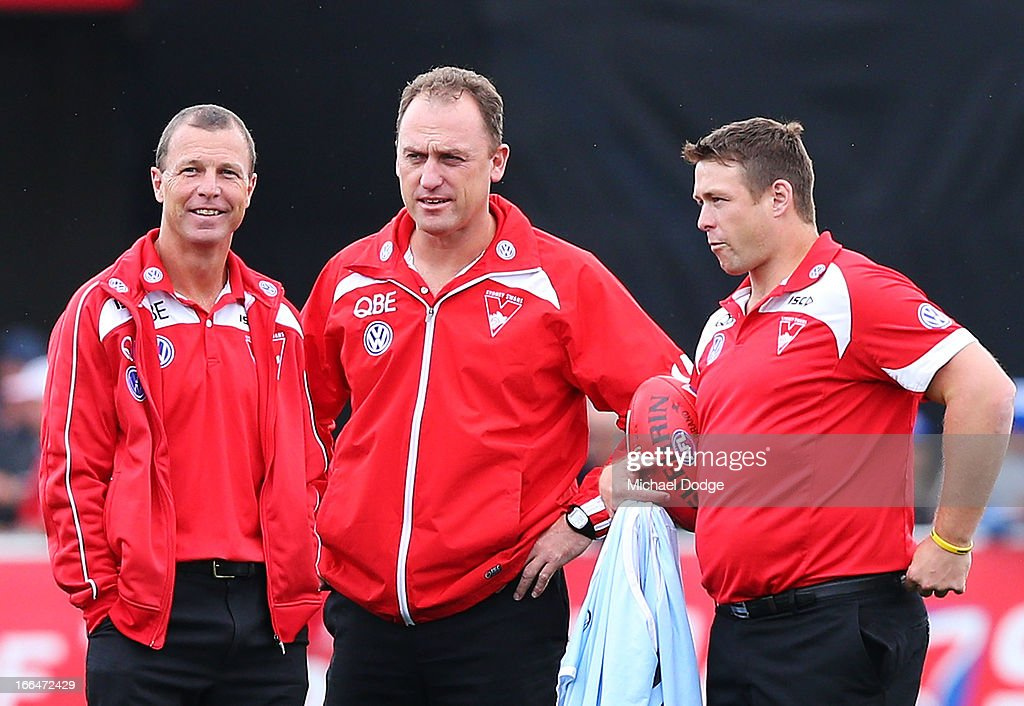 Swans coach John Longmire (C) looks ahead with assistant coaches John Blakey (L) and Stuart Dew during the round three AFL match between the North Melbourne Kangaroos and the Sydney Swans at Blundstone Arena on April 13, 2013 in Hobart, Australia.