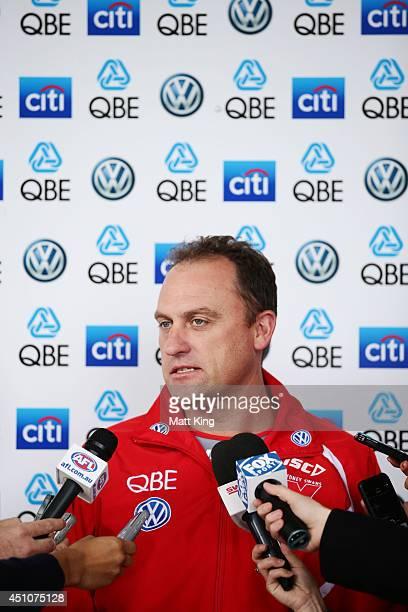 Swans coach John Longmire speaks to the media during a Sydney Swans AFL media session at Sydney Cricket Ground on June 23 2014 in Sydney Australia