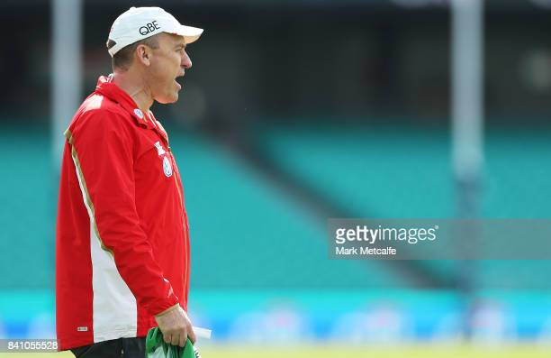Swans head coach John Longmire shouts to players during a Sydney Swans AFL training session at Sydney Cricket Ground on August 31 2017 in Sydney...