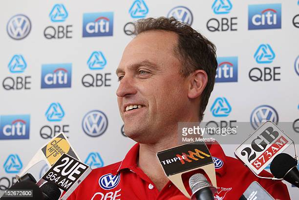Swans head coach John Longmire smiles as he speaks to the media during a Sydney Swans AFL media session at Sydney Cricket Ground on September 24 2012...