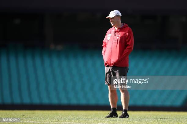 Swans head coach John Longmire watches on during a Sydney Swans AFL training session at Sydney Cricket Ground on June 13 2017 in Sydney Australia