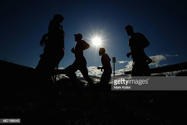 Swans players run during a Sydney Swans AFL training session at the Sydney Cricket Ground on July 28 2015 in Sydney Australia