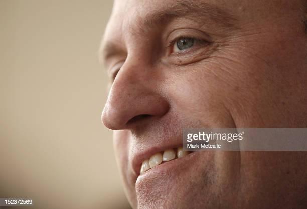 Swans senior coach John Longmire smiles as he speaks to the media during a Sydney Swans Media Session at Sydney Cricket Ground on September 20 2012...