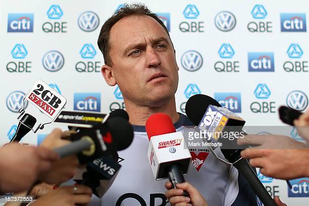 Swans senior coach John Longmire speaks to the media during a Sydney Swans Media Session at Sydney Cricket Ground on September 20 2012 in Sydney...