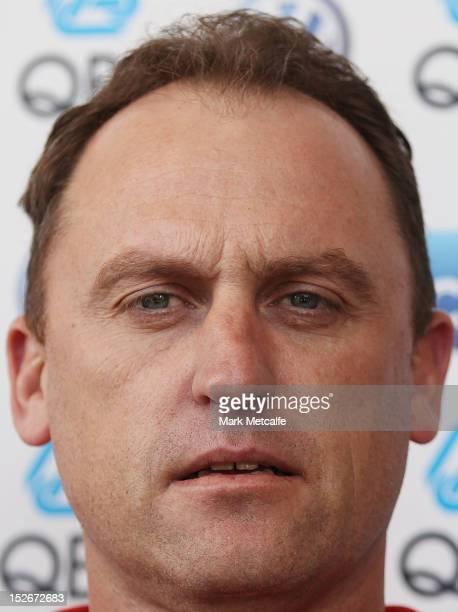 Swans senior coach John Longmire speaks to the media during a Sydney Swans AFL media session at Sydney Cricket Ground on September 24 2012 in Sydney...