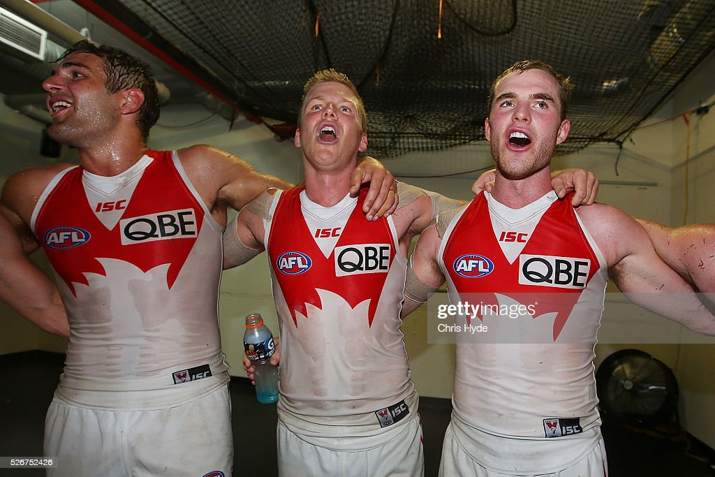Swans sing the team song after winning the round six AFL match between the Brisbane Lions and the Sydney Swans at The Gabba on May 1, 2016 in Brisbane, Australia.