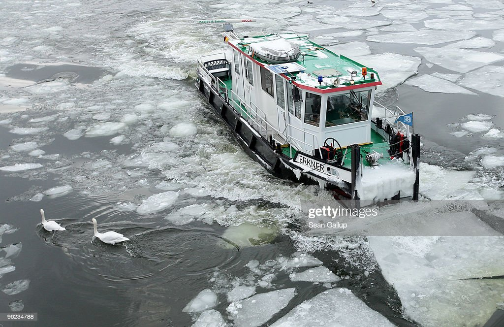 Swans swim away from an icebreaker churning through ice in the Dahme river in the district of Koepenick on January 28, 2010 in Berlin, Germany. Though temperatures are mild today at around 0 degrees Celsius, northeastern Germany has struggled through a cold front in the last week that brought temperatures down to -20 degrees Celsius, and forecasters say they expect the cold front to return by the weekend.