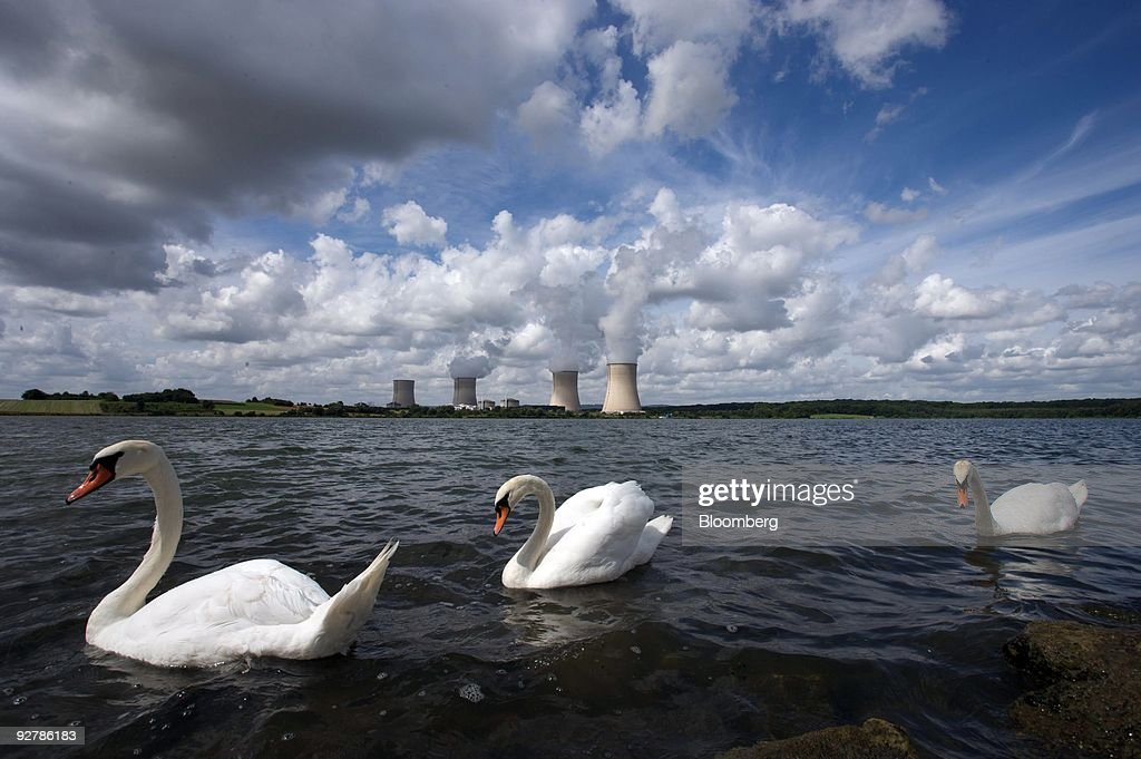 Swans swim on an artificial lake called 'Barrage de Mirgenbach' in front of the Electricite de France, or EDF, Cattenom nuclear power plant near Cattenom, France, on Thursday, Aug. 14, 2008. The plant spilled water with a higher-than-allowed concentration of iron into the Moselle river in northeast France last year, EDF said.