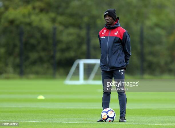 Swansea assistant coach Claude Makelele observes the training during the Swansea City Training at The Fairwood Training Ground on August 16 2017 in...