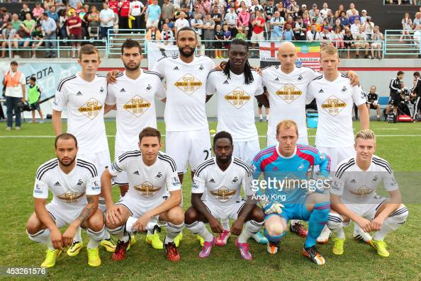 Swansea City AFC of Wales takes a team photo before their friendlymatch against Minnesota United FC on July 19 2014 at the National Sports Center in...
