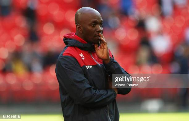 Swansea City assistant manager Claude Makelele prior to kick off of the Premier League match between Tottenham Hotspur and Swansea City at Wembley...