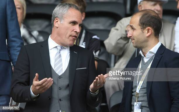 Swansea City Chielf Operating Officer Chris Pearlman prior to kick off of the Premier League match between Swansea City and Manchester United at The...