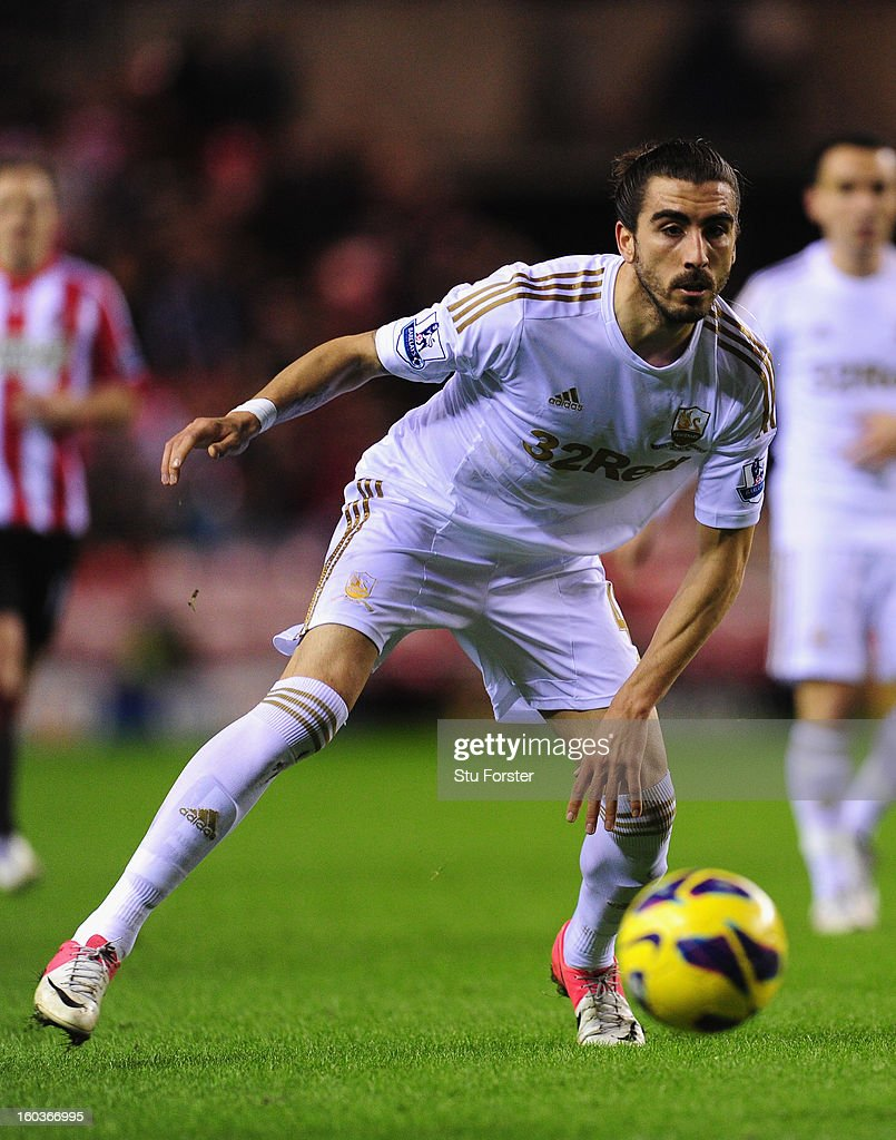 Swansea City defender Chico Flores in action during the Barclays Premier League match between Sunderland and Swansea City at Stadium of Light on January 29, 2013 in Sunderland, England.