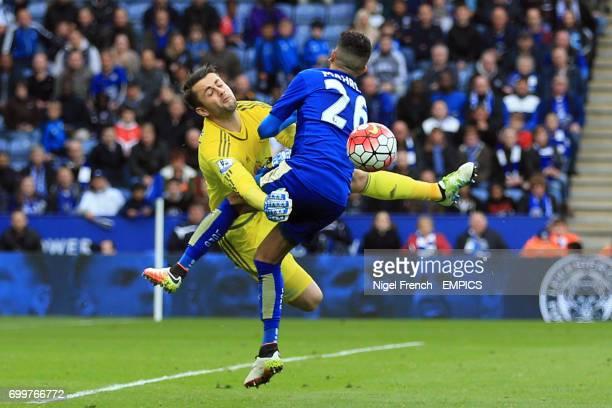 Swansea City goalkeeper Lukasz Fabianski blocks a shot from Leicester City's Riyad Mahrez