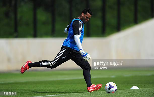Swansea City goalkeper Michel Vorm in action during training at Landore training complex on July 18 2013 in Swansea Wales
