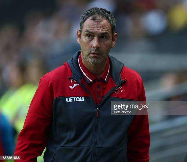 Swansea City head coach Paul Clement looks on prior to the Carabao Cup Second Round match between Milton Keynes Dons and Swansea City at StadiumMK on...