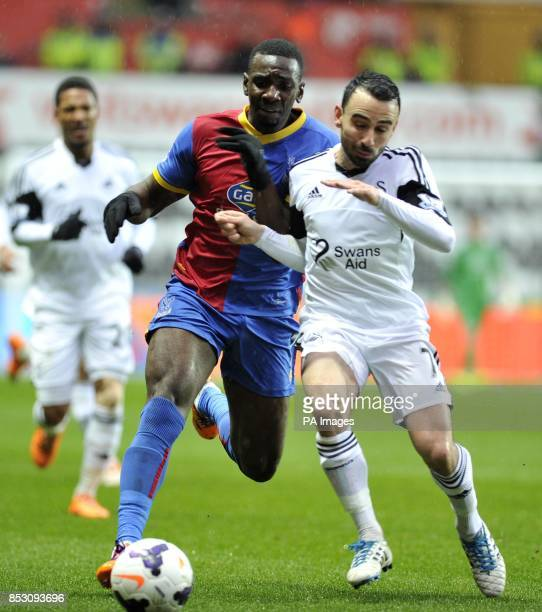 Swansea City' Leon Bitton and Crystal Palace's Yannick Bolasie during the Barclays Premier League match at the Liberty Stadium Swansea