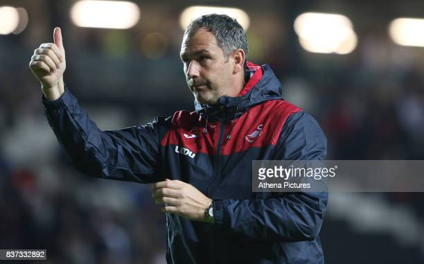 Swansea City manager Paul Clement after the final whistle of the Carabao Cup Second Round match between MK Dons and Swansea City at StadiumMK on...