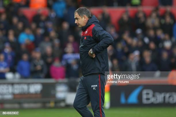 Swansea City manager Paul Clement after the final whistle of the Premier League match between Swansea City and Leicester City at The Liberty Stadium...