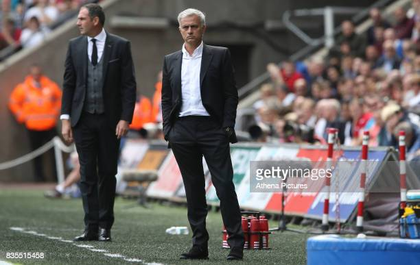 Swansea City manager Paul Clement and Manchester United manager Jose Mourinho during the Premier League match between Swansea City and Manchester...