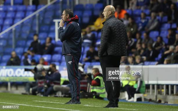 Swansea City manager Paul Clement and Reading manager Jakob Stam look on during the Carabao Cup Third Round match between Reading and Swansea City at...