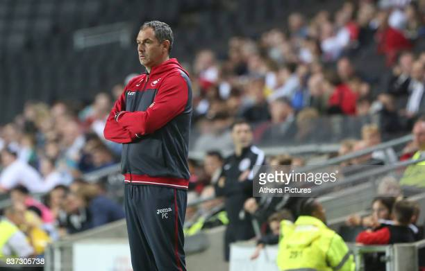 Swansea City manager Paul Clement during the Carabao Cup Second Round match between MK Dons and Swansea City at StadiumMK on August 22 2017 in Milton...