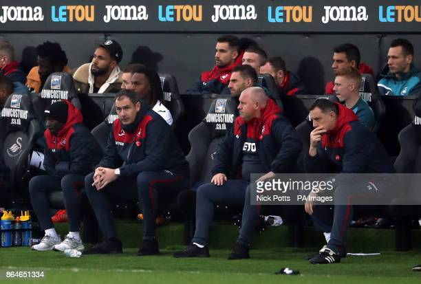 Swansea City manager Paul Clement during the Premier League match at the Liberty Stadium Swansea