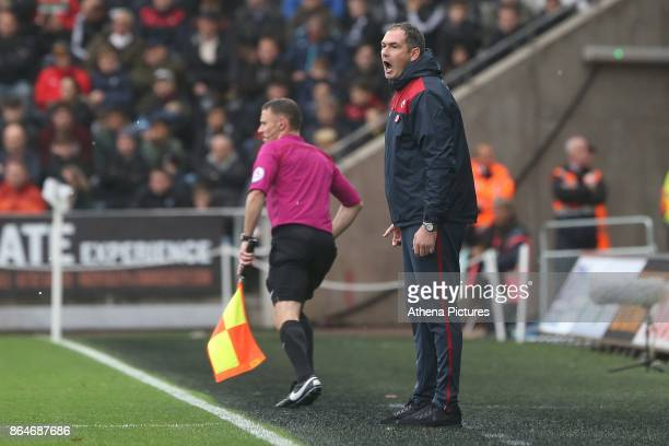 Swansea City manager Paul Clement during the Premier League match between Swansea City and Leicester City at The Liberty Stadium on October 21 2017...