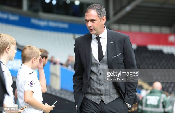 Swansea City manager Paul Clement prior to kick off of the Premier League match between Swansea City and Manchester United at The Liberty Stadium on...