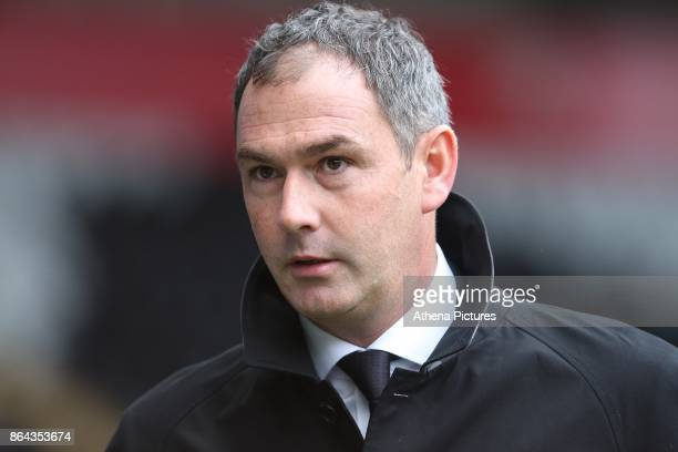 Swansea City manager Paul Clement prior to kick off of the Premier League match between Swansea City and Leicester City at The Liberty Stadium on...