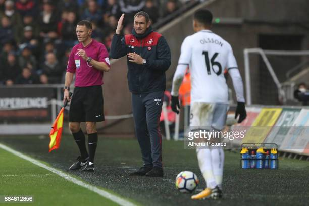 Swansea City manager Paul Clement shouts to Martin Olsson of Swansea City during the Premier League match between Swansea City and Leicester City at...