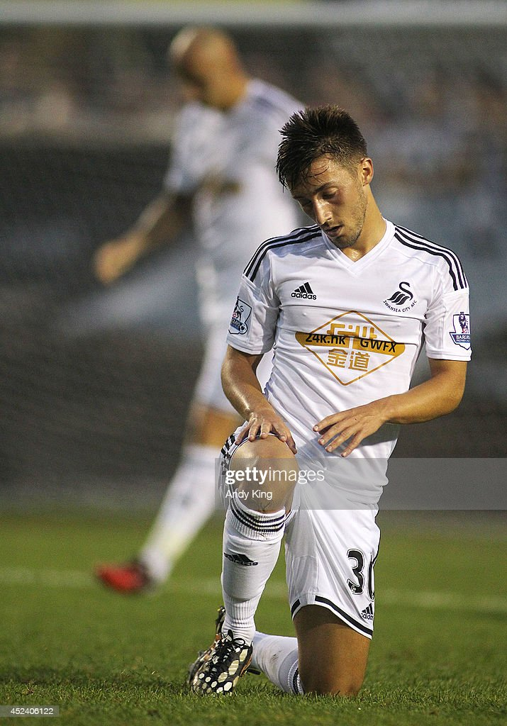 Swansea City middle fielder Josh Sheehan is dejected after losing to Minnesota United FC 2-0 in their friendly soccer match on July 19, 2014 at the National Sports Center in Blaine, Minnesota.