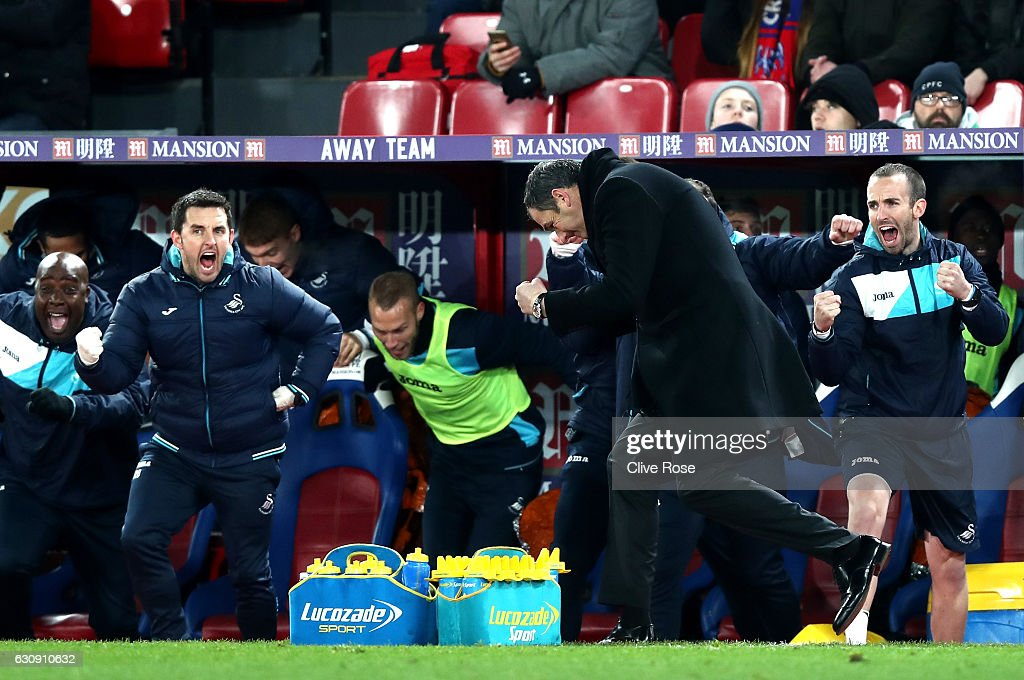 Swansea City new manager Paul Clement celebrates his team's second goal during the Premier League match between Crystal Palace and Swansea City at Selhurst Park on January 3, 2017 in London, England.