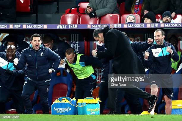 Swansea City new manager Paul Clement celebrates his team's second goal during the Premier League match between Crystal Palace and Swansea City at...