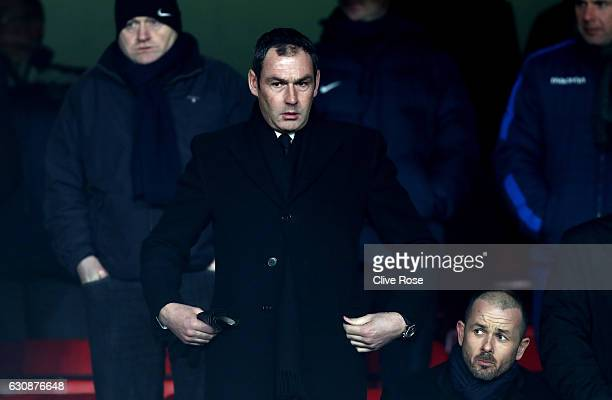 Swansea City new manager Paul Clement is seen in the stand prior to the Premier League match between Crystal Palace and Swansea City at Selhurst Park...