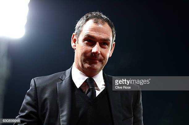 Swansea City new manager Paul Clement is seen prior to the Premier League match between Crystal Palace and Swansea City at Selhurst Park on January 3...