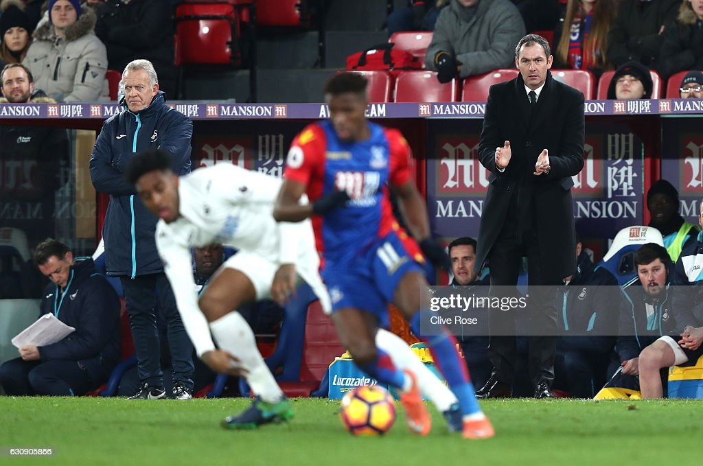 Swansea City new manager Paul Clement stands on the touchline during the Premier League match between Crystal Palace and Swansea City at Selhurst Park on January 3, 2017 in London, England.