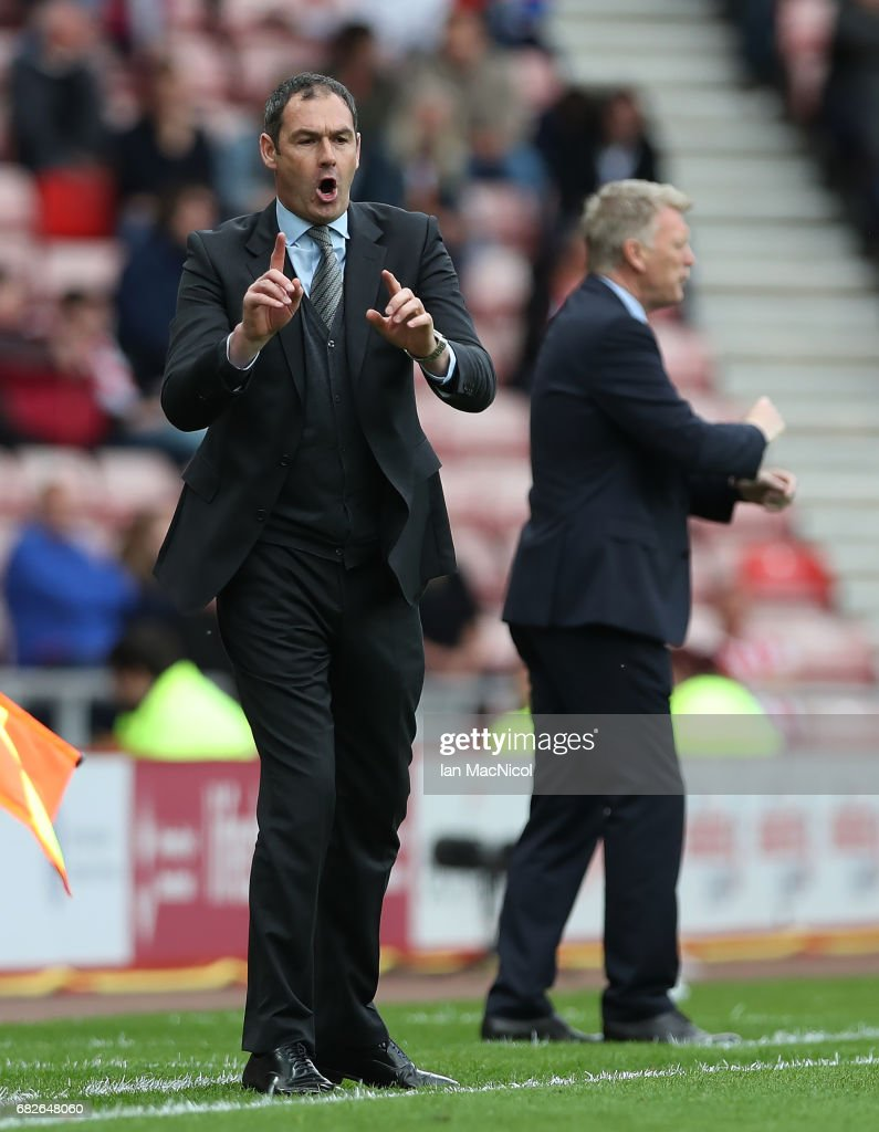 Swansea City Paul Clement reacts during the Premier League match between Sunderland and Swansea City at Stadium of Light on May 13, 2017 in Sunderland, England.