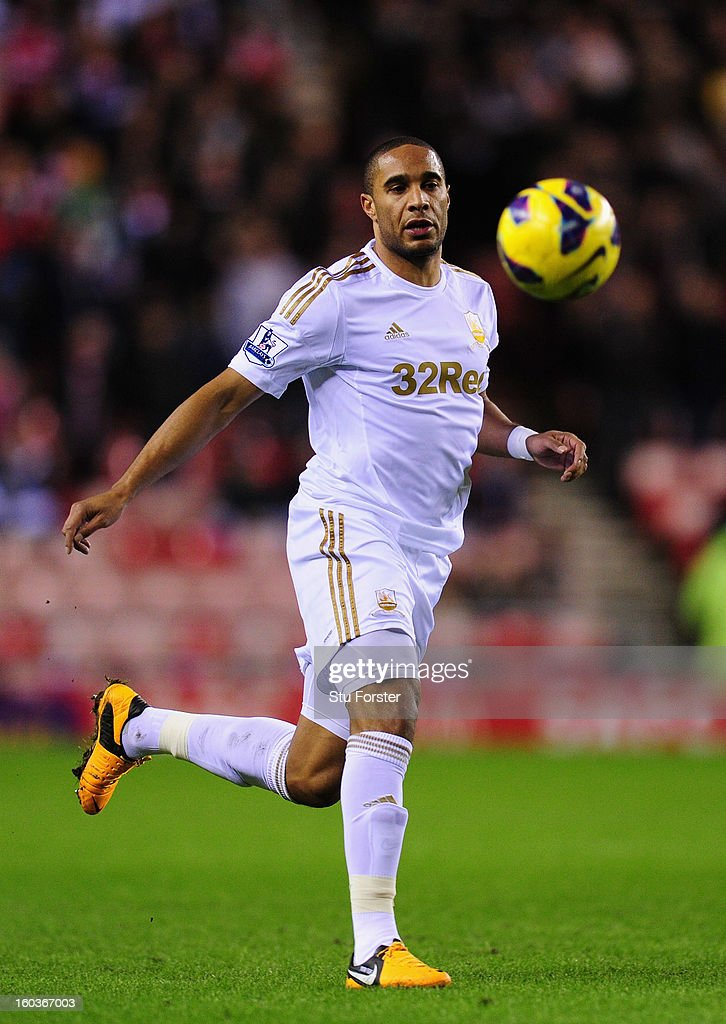 Swansea City player Ashley Williams in action during the Barclays Premier League match between Sunderland and Swansea City at Stadium of Light on January 29, 2013 in Sunderland, England.