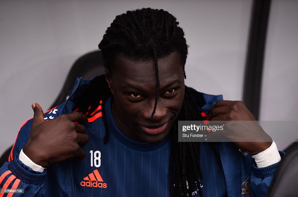 Swansea City player <a gi-track='captionPersonalityLinkClicked' href=/galleries/search?phrase=Bafetimbi+Gomis&family=editorial&specificpeople=686005 ng-click='$event.stopPropagation()'>Bafetimbi Gomis</a> looks on before the Barclays Premier League match between Swansea City and Liverpool at The Liberty Stadium on May 1, 2016 in Swansea, Wales.