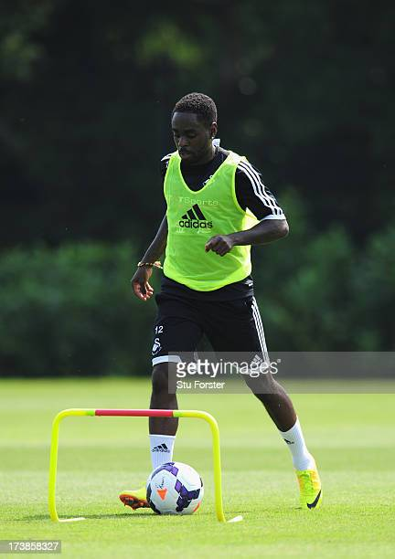 Swansea City player Nathan Dyer in action during training at Landore training complex on July 18 2013 in Swansea Wales