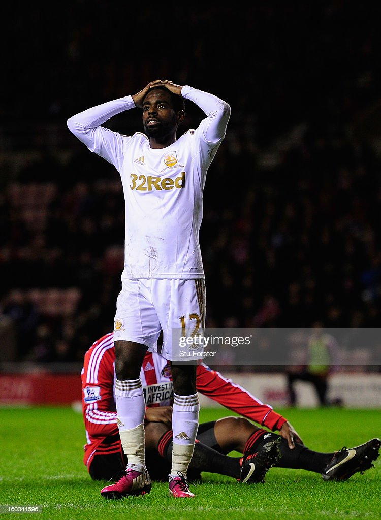 Swansea City player Nathan Dyer reacts after a near miss during the Barclays Premier League match between Sunderland and Swansea City at Stadium of Light on January 29, 2013 in Sunderland, England.
