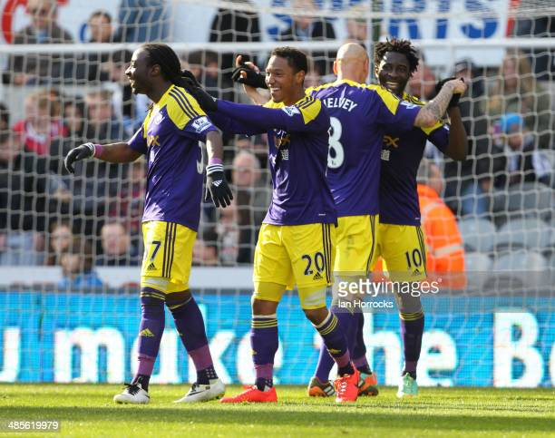 Swansea City players Kyle Bartley Jonathan De Guzman Jonjo Shelvey and goalscorer Wilfried Bony celebrate after the winning goal during the Barclays...