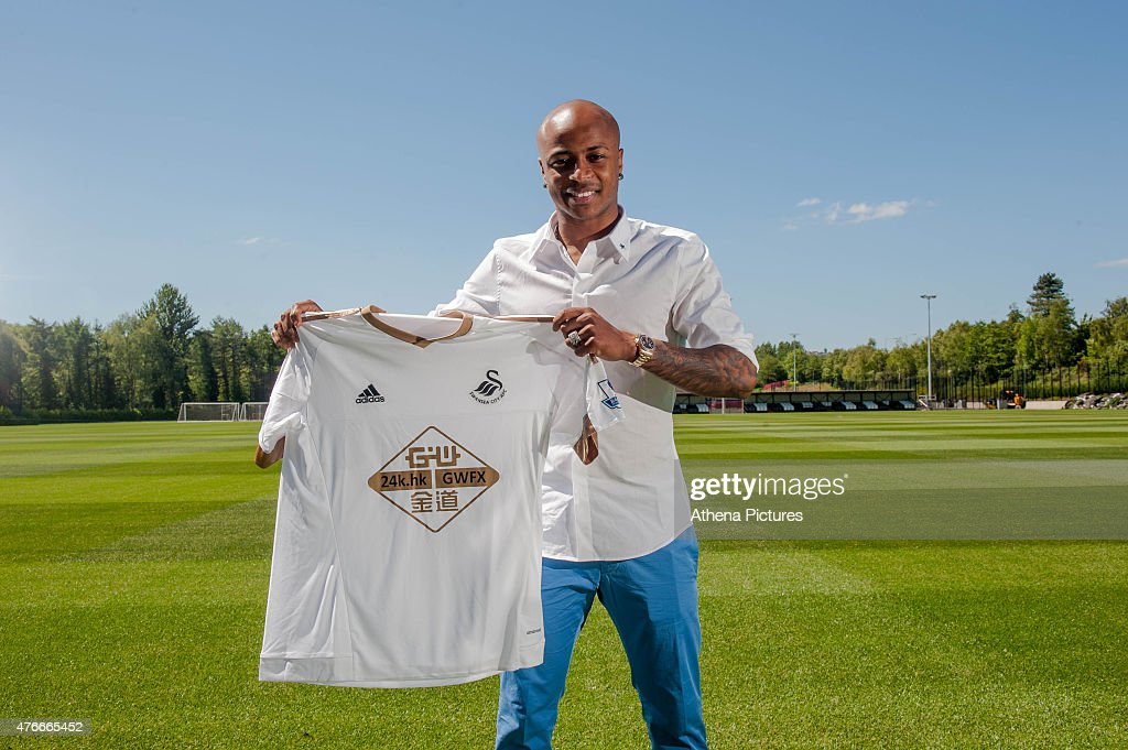 Swansea City unveil new signing Andre Ayew on June 10, 2015 in Swansea, Wales.