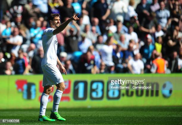 Swansea City's Fernando Llorente celebrates scoring his sides first goal during the Premier League match between Swansea City and Stoke City at...