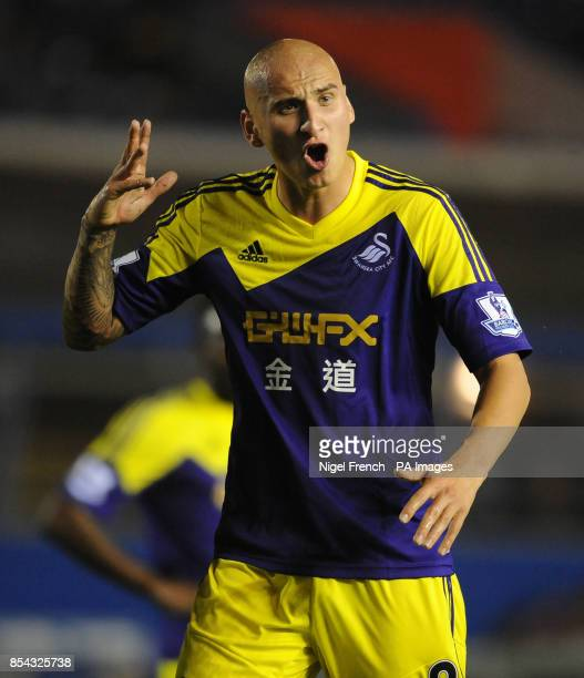 Swansea City's Jonjo Shelvey gestures during the Capital One Cup Third round match at St Andrews Birmingham