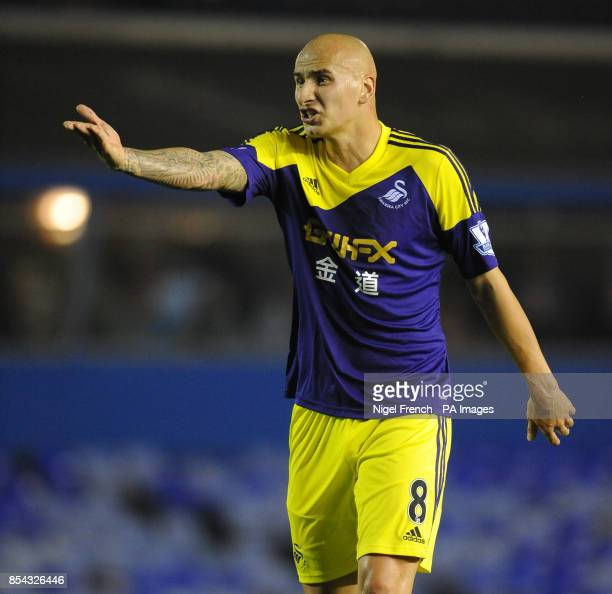 Swansea City's Jonjo Shelvey protests with a team mate during the Capital One Cup Third round match at St Andrews Birmingham