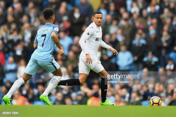 Swansea City's Luciabo Narsingh during the Premier League match between Manchester City and Swansea City at the Etihad Stadium on February 5...