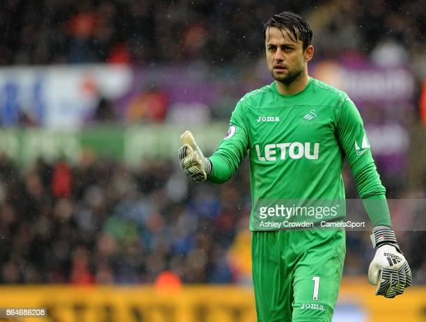 Swansea City's Lukasz Fabianski during the Premier League match between Swansea City and Leicester City at Liberty Stadium on October 21 2017 in...