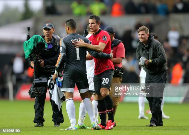 Swansea City's Michel Vorm and Manchester United's Robin van Persie congratulate each other after the final whistle